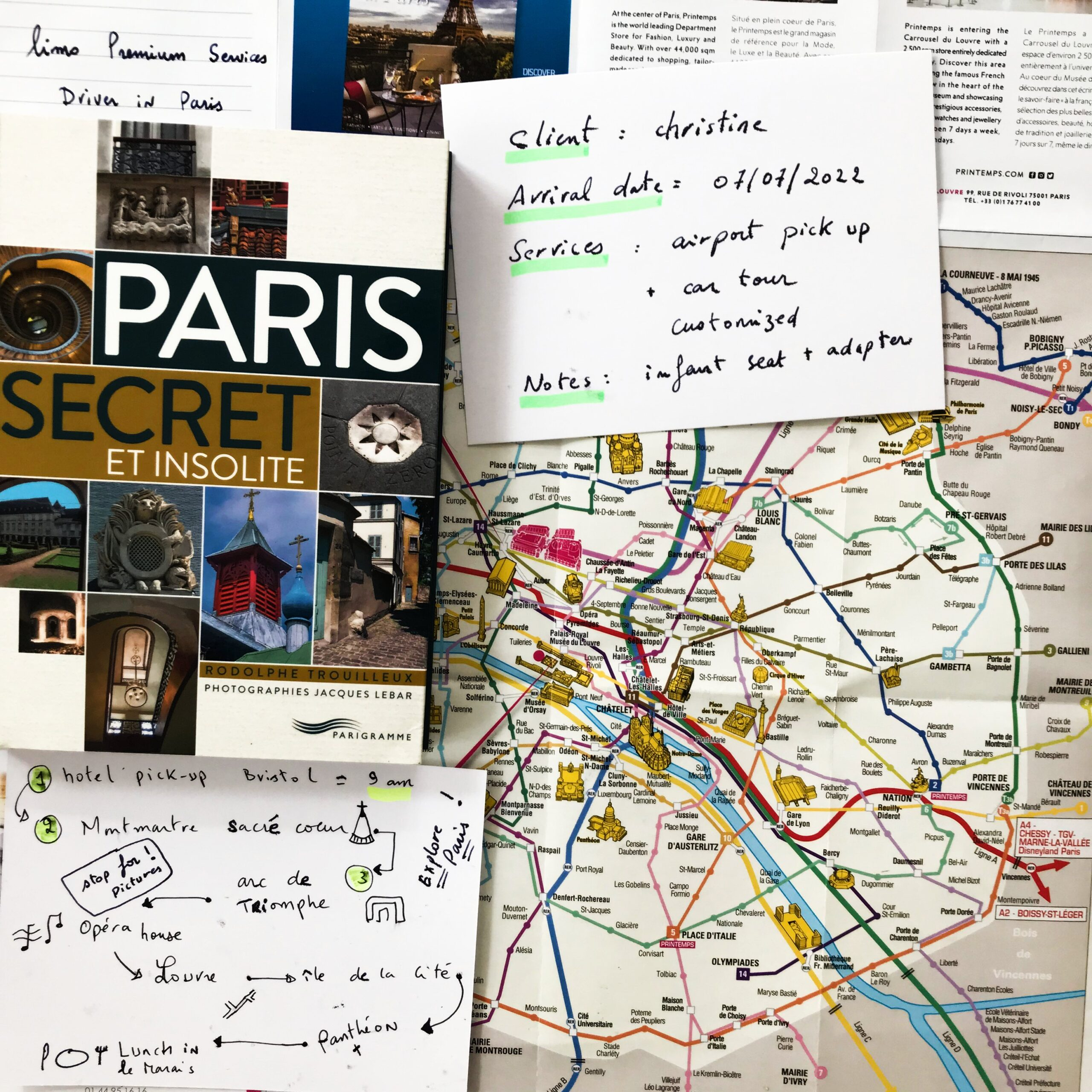 Map of Paris Limo premium services Driver in Paris customized itinerary for a car tour in paris 2021