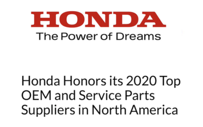 Honda Honors Bridgewater As A 2020 Top OEM And Service Parts Suppliers In North America