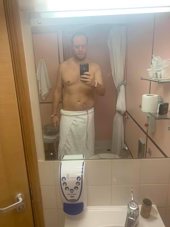 Me, topless in a bathroom at St Anthony's hospital wearing just a towel.  I can't wait to see what that brings up in the google image search