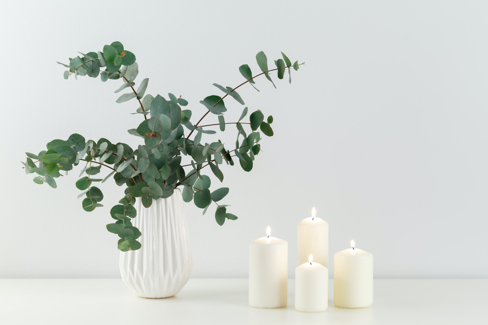 Bouquet of eucalyptus and candles