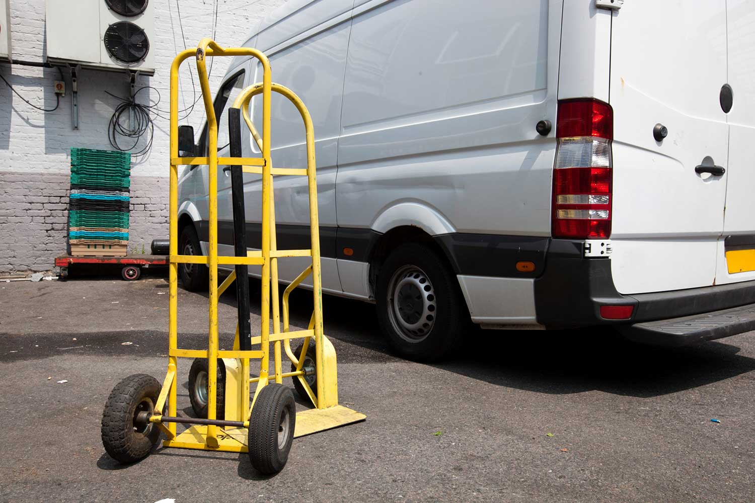 UK Express Delivery - van with trolley