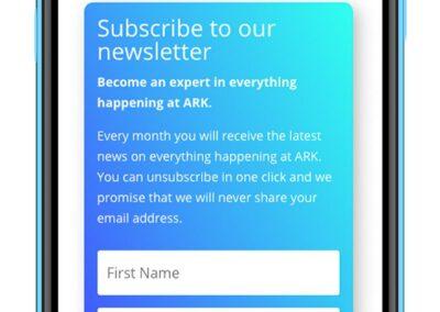 ARK-new-website-iphone-newsletter