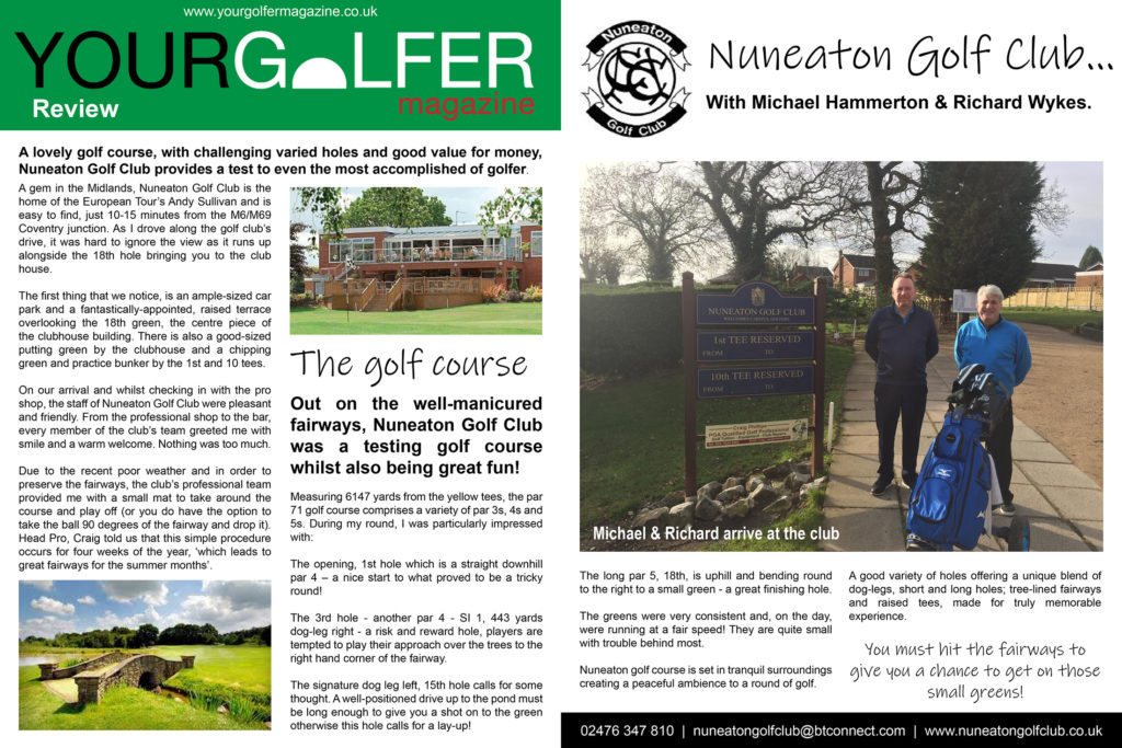 your golfer magazine nuneaton golf club review