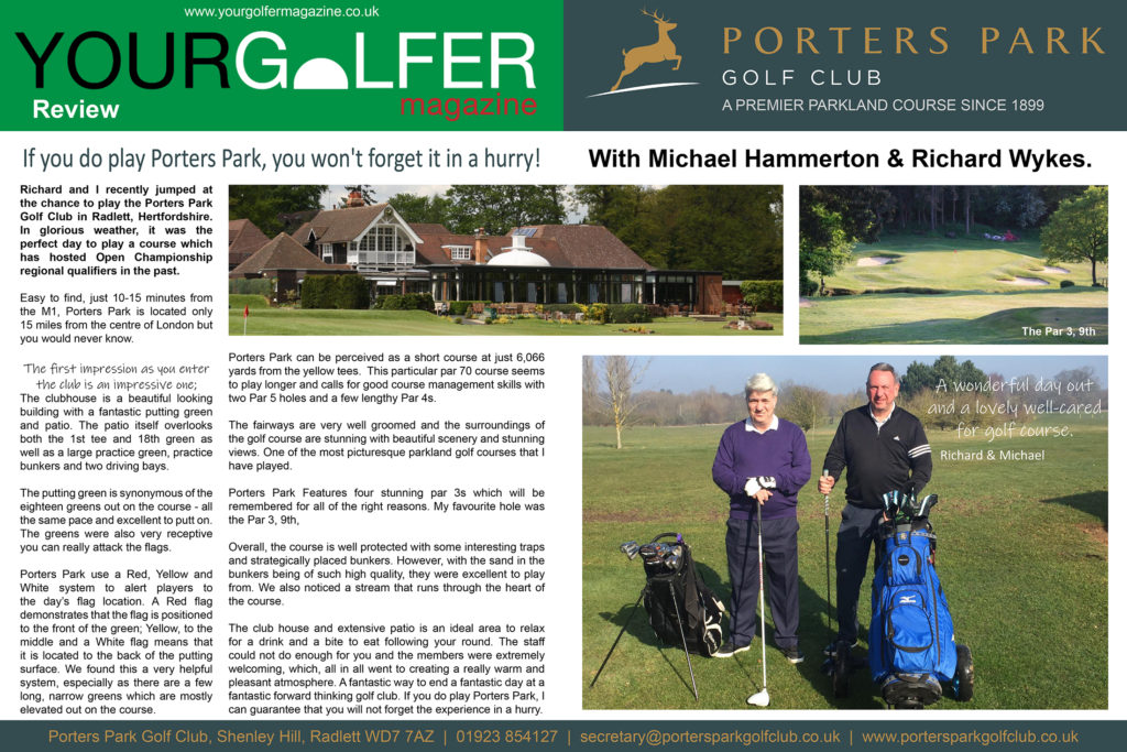 your golfer magazine reviews Porters Park golf club