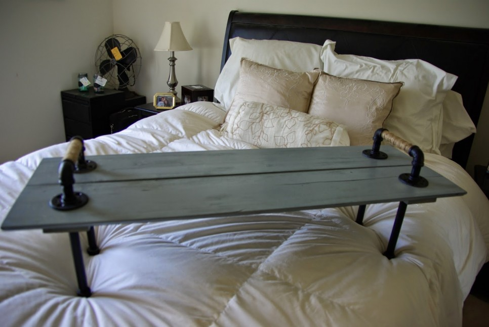 Vintage DIY Over The Bed Tray Table Made From Galvanized Pipe