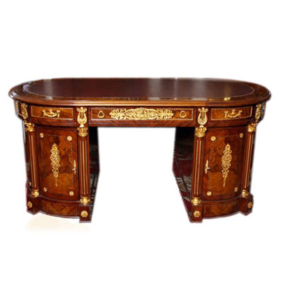 SOLD – Gorgeous Ornate French Empire Style Pedestal Desk – Now Sold