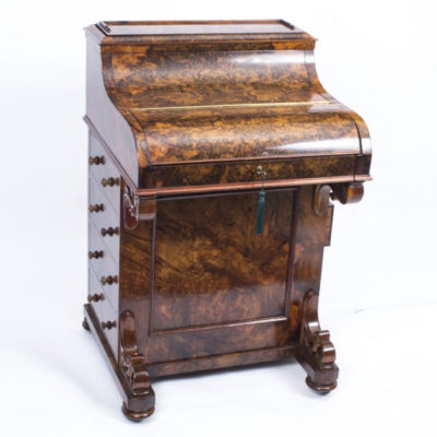 Antique Victorian Burr Walnut Pop Up Davenport Desk c.1860