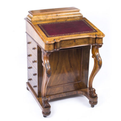 SOLD – Antique Victorian Davenport Desk in Burr Walnut Dating From Around 1870
