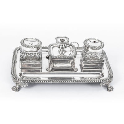 Antique Old Sheffield Silver Plated Inkstand c.1800