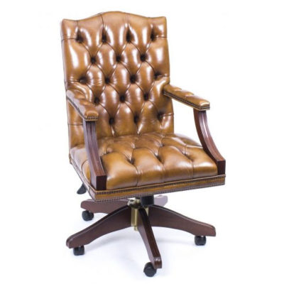 English Handmade Gainsborough Leather Desk Chair