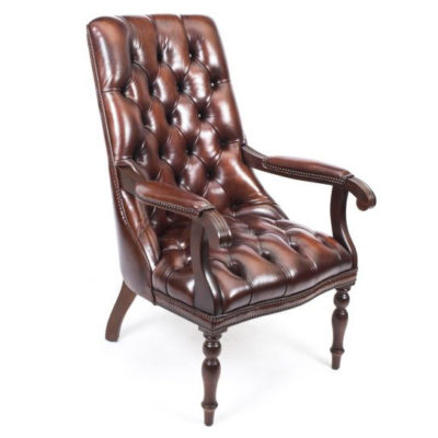 English Handmade Carlton Leather Desk Chair