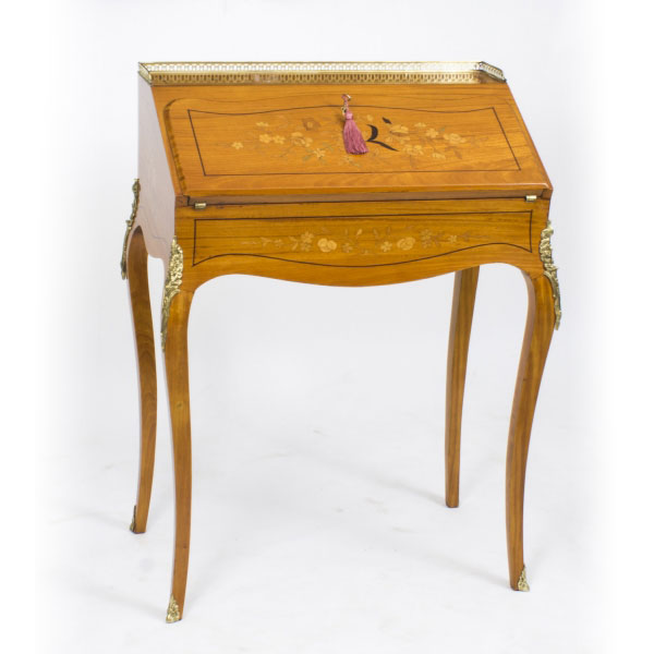 Antique Bureau de Dame in Satinwood Marquetry c.1880