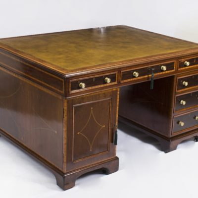 Antique Victorian Partners Pedestal Desk C1870