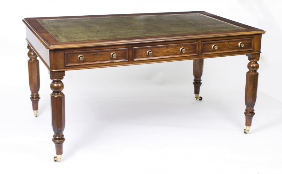Antique Library Table or Desk – William IV in Mahogany  c.1840