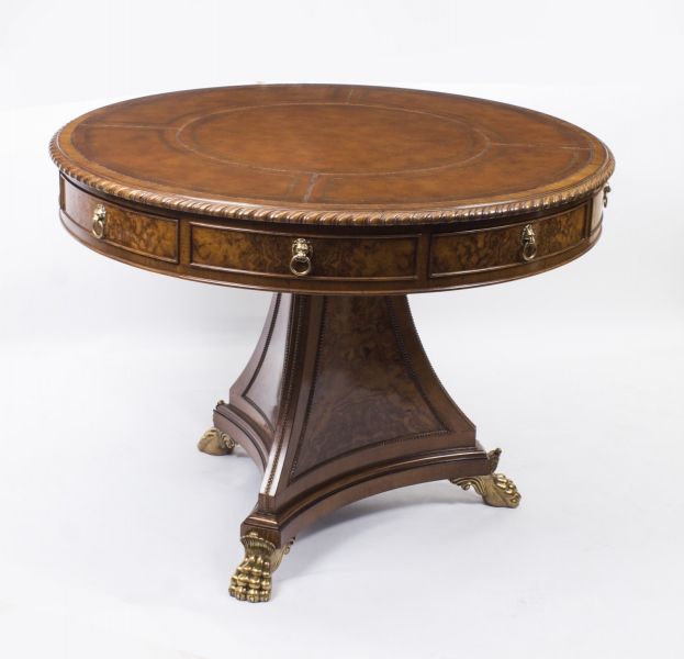 Regency Library Table in Burr Walnut & Ormolu
