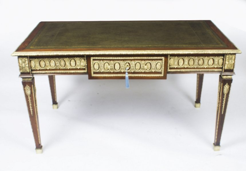 Antique French Empire Revival Bureau Plat Desk Writing Table C.1900