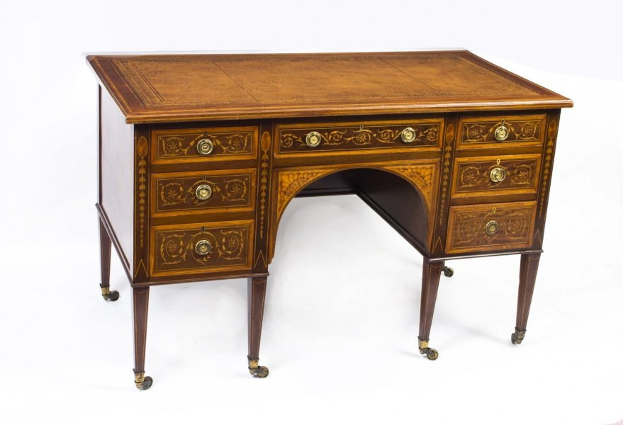 Antique Edwardian Sheraton Revival Inlaid Desk c.1890 Price: £2900