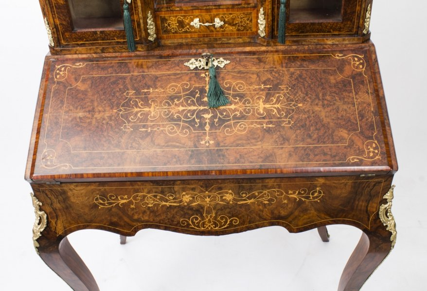 Antique Victorian Burr Walnut Inlaid Bonheur Du Jour c.1860 Price: £3100