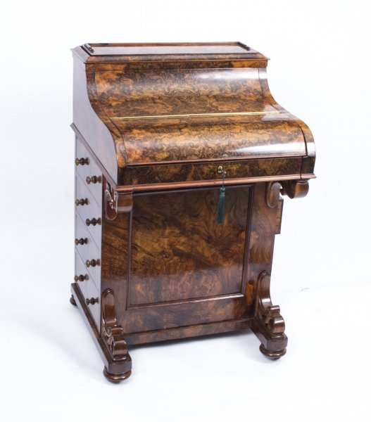 Antique Victorian Burr Walnut Pop Up Davenport Desk c.1860 Price: £2850