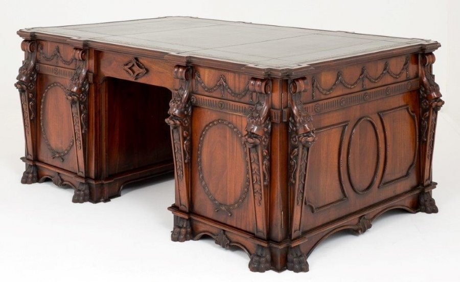 Vintage Mahogany Chippendale Nostell Priory Partner's Desk 20thC Price: £11750