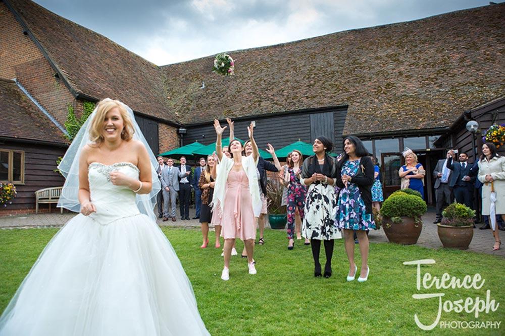 Bride through her bouquet