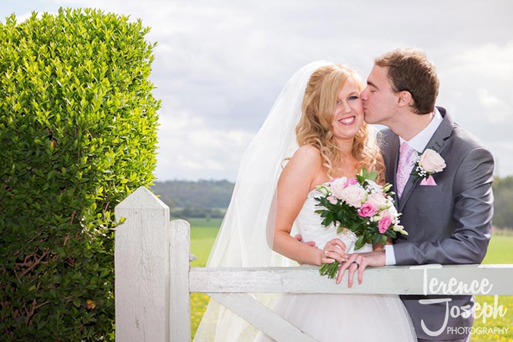 Lucky wedding kiss
