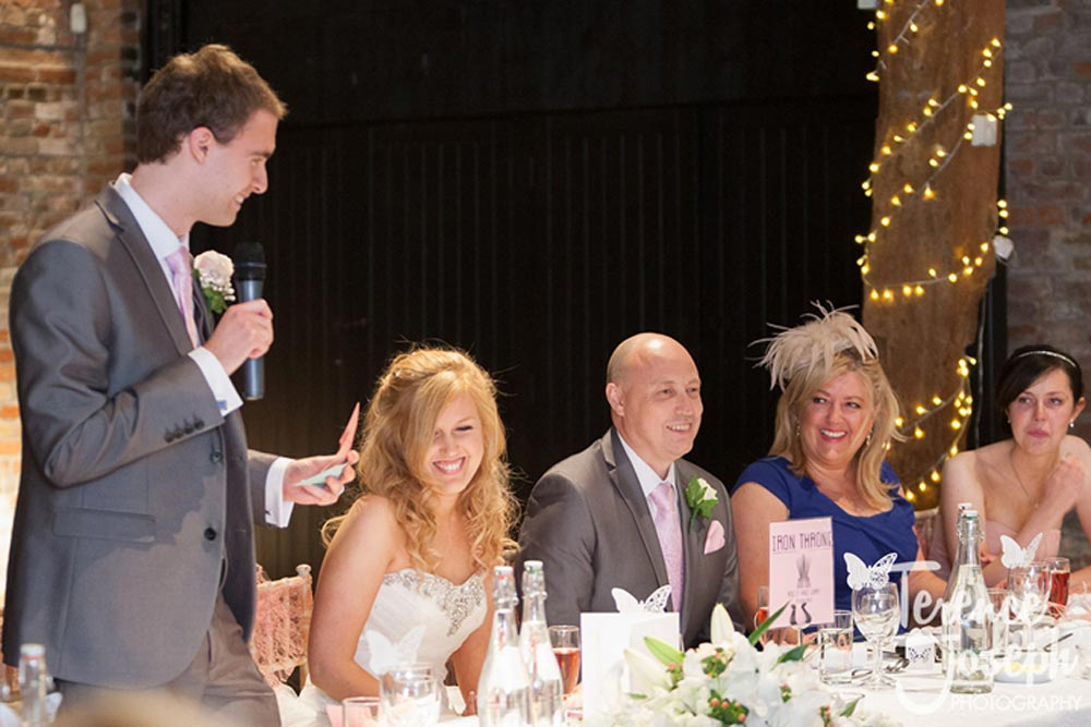 Groom's turn to say few words to his new wife
