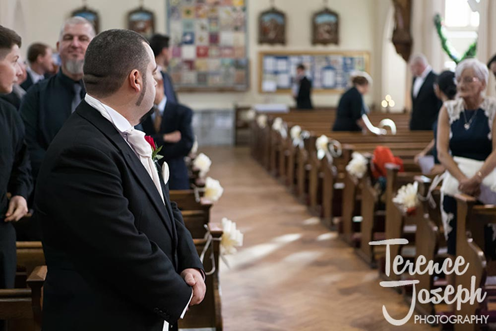 Groom waits patiently for his bride in London