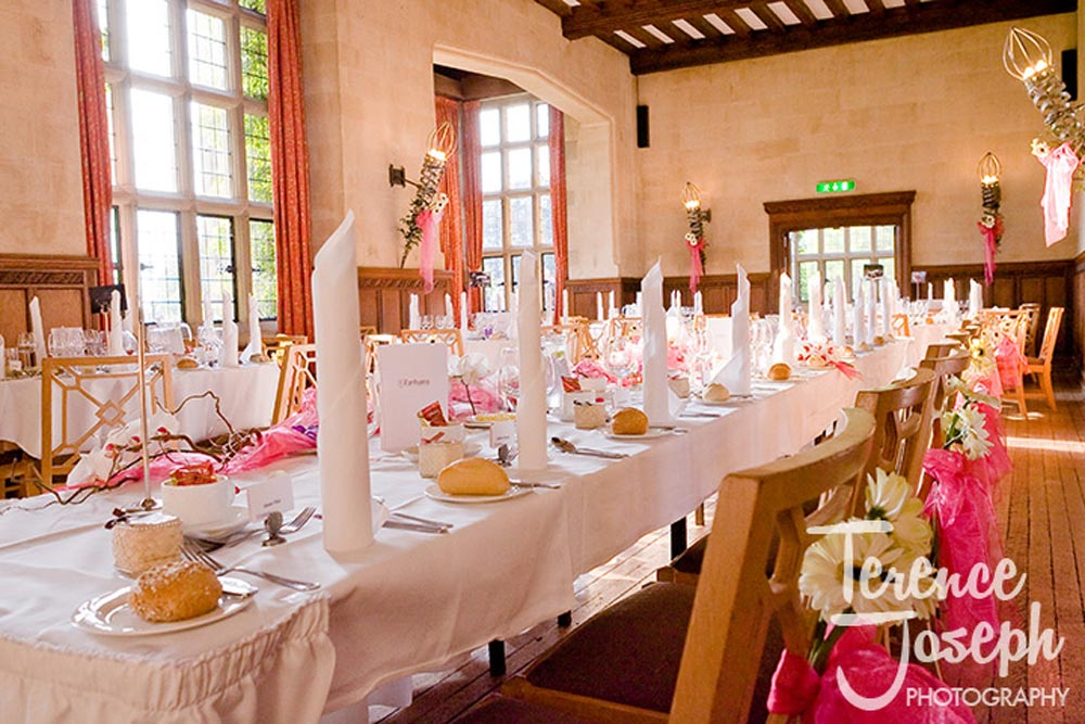 Beautiful Great Hall at Fanhams Hall Hotel Wedding