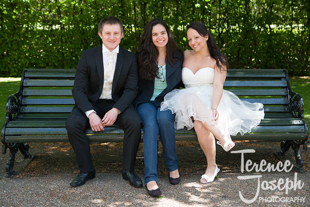 Wedding couple and friend