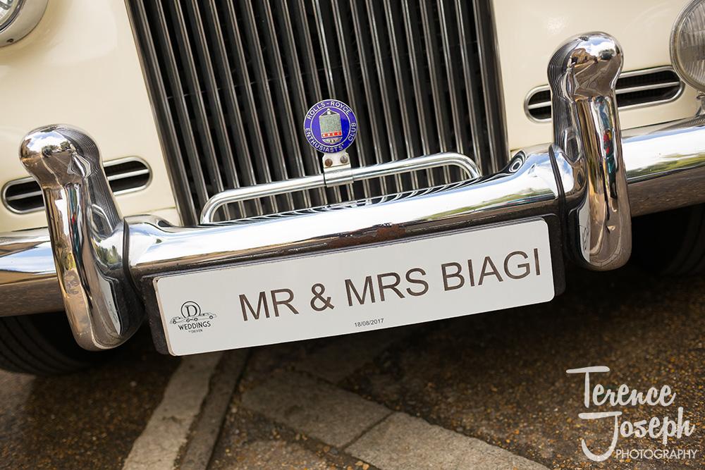 Wedding license number plate
