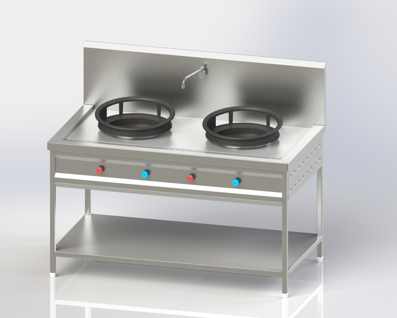 Double Burner Chinese Cooking Range