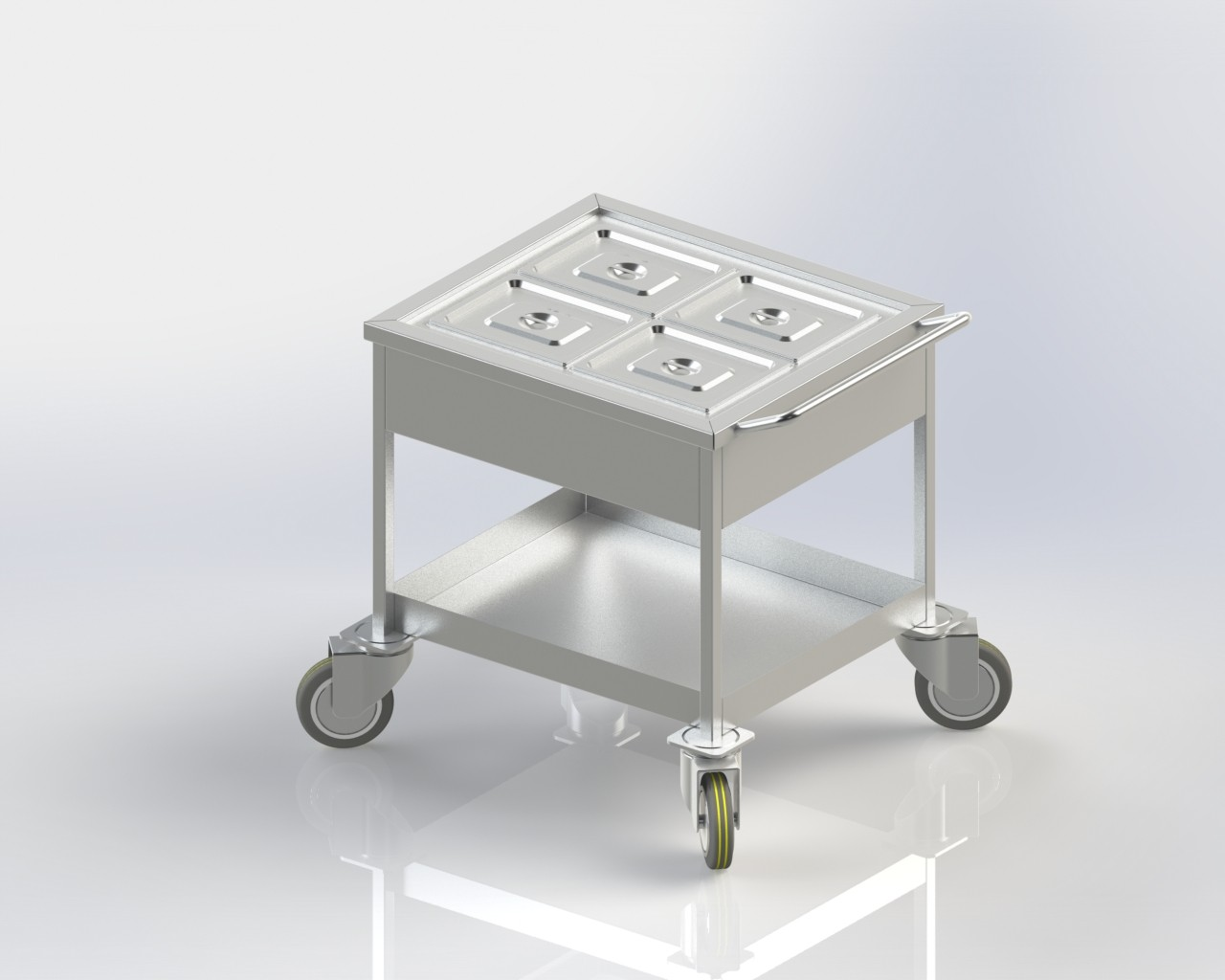 Food Service Trolley keeps food warm while serving.