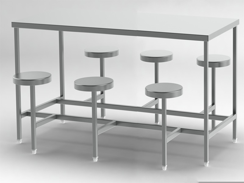 6-seater-canteen-table with fix stool