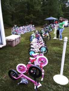 Bikes lined up to give away at Ride ON Cannon Memorial event