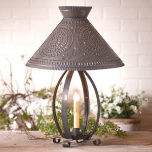 Betsy-Ross-Lamp-with-Chisel-Shade-in-Blackened-Tin