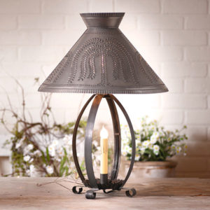 Betsy-Ross-Lamp-with-Willow-Shade-in-Blackened-Tin