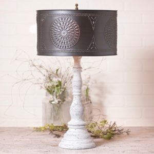 Davenport Lamp in Farmhouse White with Drum Shade