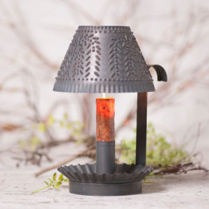 Farmhouse-Shaded-Candlestick-in-Blackened-Tin