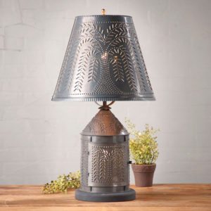Fireside-Lamp-with-Willow-Shade-in-Blackened-Tin