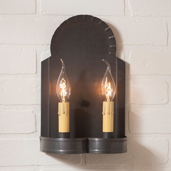 Hanover Double Wall Sconce in Blackened Tin