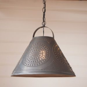 Homestead Shade Light with Chisel in Blackened Tin