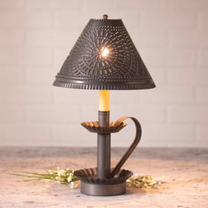 Plantation-Candlestick-Lamp-with-Chisel-Shade-in-Blackened-Tin