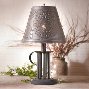 Round-Candle-Mold-Lamp-with-Chisel-Shade-in-Blackened-Tin