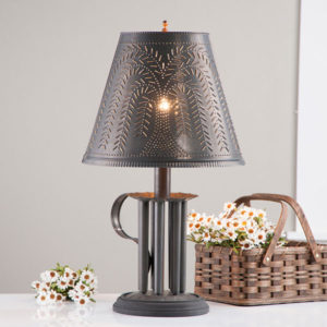 Round-Candle-Mold-Lamp-with-Willow-Shade-in-Blackened-Tin