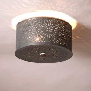 Round Ceiling Light with Chisel in Country Tin