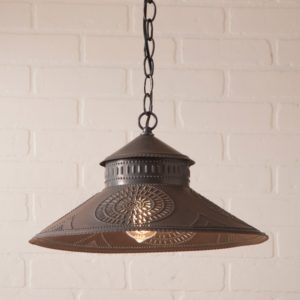 Shopkeeper Shade Light with Chisel in Blackened Tin
