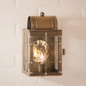 Small Wall Lantern in Weathered Brass