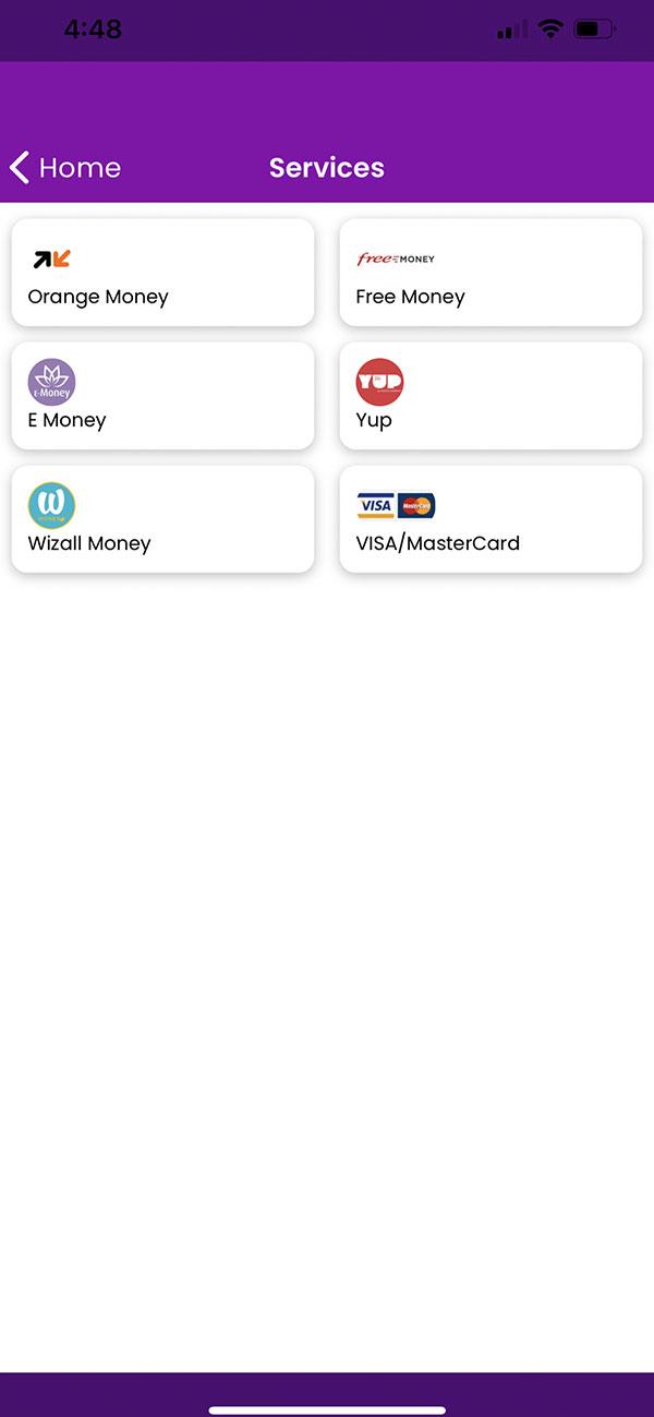 Transfer of money to other operators