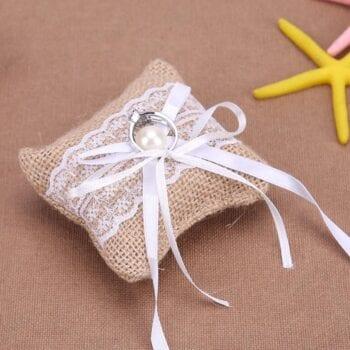 Burlap ring pillow for las vegas wedding chapels